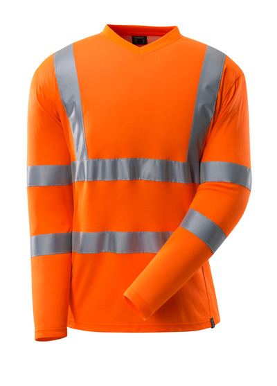 MASCOT® SAFE CLASSIC - Hi-vis orange - T-shirt, encolure en V, manches longues, classe 3