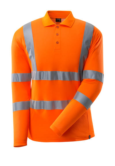 MASCOT® SAFE CLASSIC - Hi-vis orange - Polo, coupe moderne, manches longues, classe 3