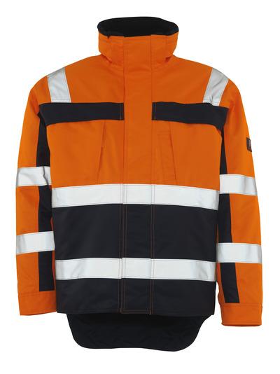 MASCOT® Teresina - Hi-vis orange/Marine - Veste d'hiver avec doublure en fourrure synthétique, imperméable, classe 3
