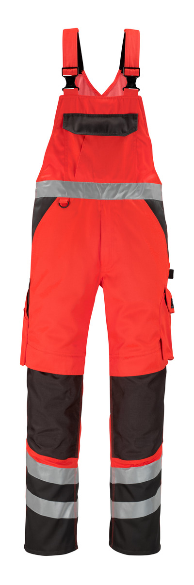 MASCOT® Trofa - Hi-vis rouge/Anthracite foncé* - Salopette avec poches genouillères