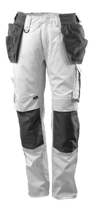 MASCOT® UNIQUE - Blanc/Anthracite foncé - Pantalon avec poches genouillères et poches flottantes en CORDURA®, poids léger