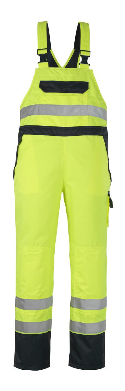 MASCOT® Wels - Hi-vis jaune/Marine - Sursalopette avec poches genouillères, en MASCOTEX® imperméable, classe 2