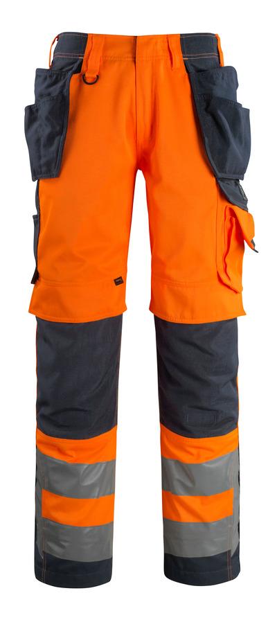 MASCOT® Wigan - Hi-vis orange/Marine foncé - Pantalon avec poches genouillères et poches flottantes en CORDURA®, haute solidité, classe 2